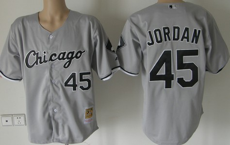 Size 5 XL Chicago White Sox #45 Michael Jordan Gray Throwback Jersey