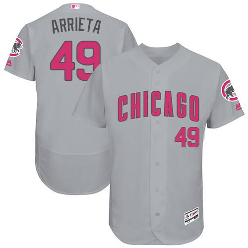 Chicago Cubs #49 Jake Arrieta Grey Flexbase Authentic Collection Mother's Day Stitched MLB Jersey