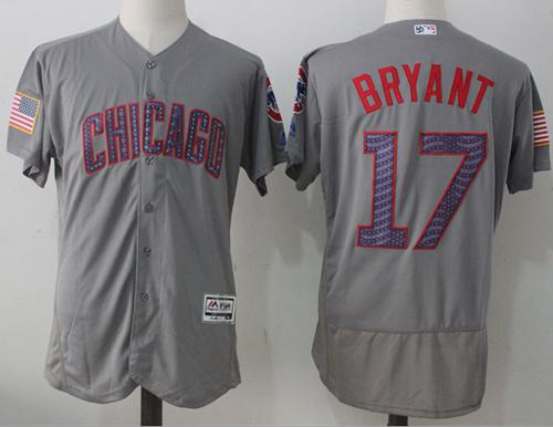 Chicago Cubs #17 Kris Bryant Grey Fashion Stars & Stripes Flexbase Authentic Stitched MLB Jersey
