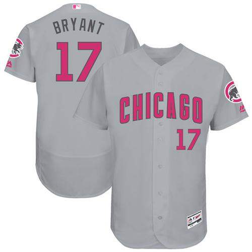 Chicago Cubs #17 Kris Bryant Grey Flexbase Authentic Collection Mother's Day Stitched MLB Jersey