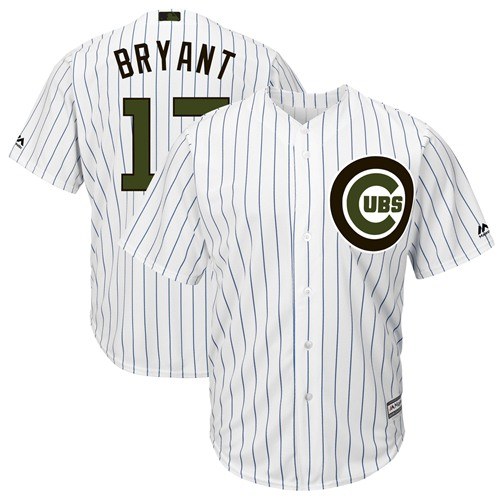 Chicago Cubs #17 Kris Bryant White(Blue Strip) New Cool Base 2018 Memorial Day Stitched Baseball Jersey