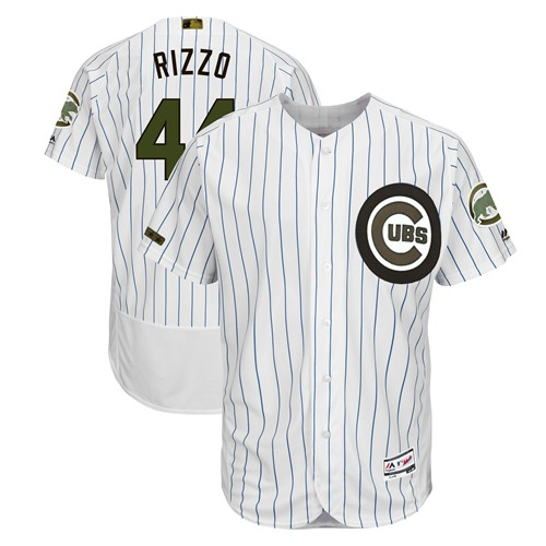 Chicago Cubs #44 Anthony Rizzo White(Blue Strip) Flexbase Authentic Collection 2018 Memorial Day Stitched Baseball Jersey
