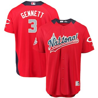 Men's National League #3 Scooter Gennett Majestic Red 2018 MLB All-Star Game Home Run Derby Player Jersey