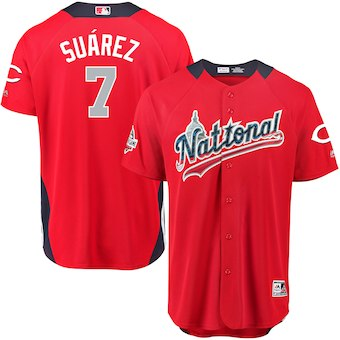 Men's National League #7 Eugenio Suarez Majestic Red 2018 MLB All-Star Game Home Run Derby Player Jersey