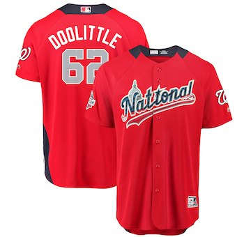 Men's National League #62 Sean Doolittle Majestic Red 2018 MLB All-Star Game Home Run Derby Player Jersey