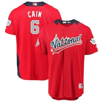 Men's National League #6 Lorenzo Cain Majestic Red 2018 MLB All-Star Game Home Run Derby Player Jersey