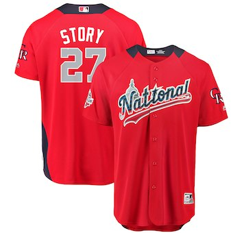 Men's National League #27 Trevor Story Majestic Red 2018 MLB All-Star Game Home Run Derby Player Jersey