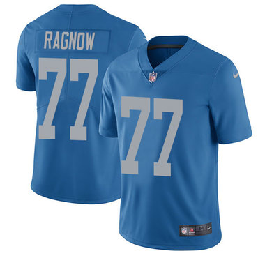 Nike Detroit Lions #77 Frank Ragnow Blue Throwback Men's Stitched NFL Vapor Untouchable Limited Jersey