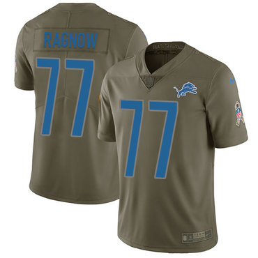 Nike Detroit Lions #77 Frank Ragnow Olive Men's Stitched NFL Limited 2017 Salute To Service Jersey