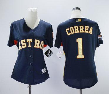 Houston Astros #1 Carlos Correa Navy 2018 Gold Program Women Cool Base Jersey