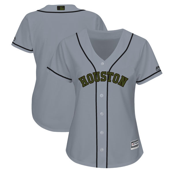 Houston Astros Blank Gray Women 2018 Memorial Day Cool Base Jersey