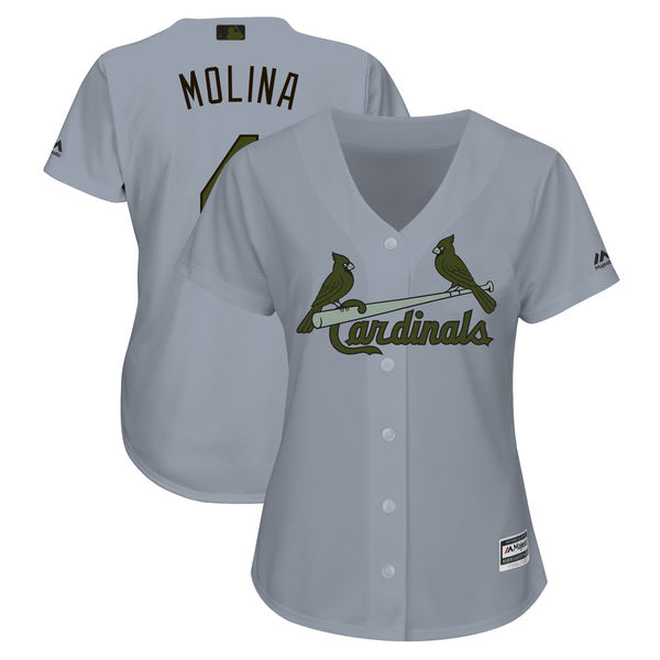 St. Louis Cardinals #4 Yadier Molina Gray Women 2018 Memorial Day Cool Base Jersey