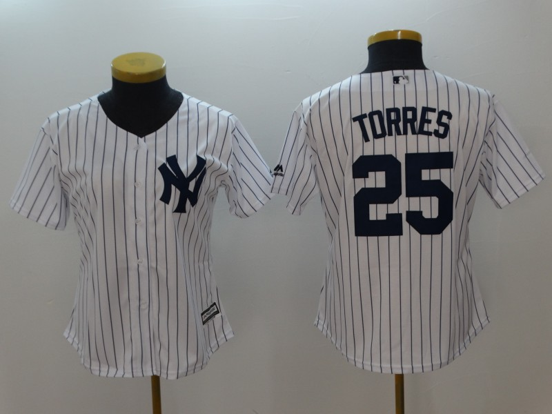 New York Yankees #25 Gleyber Torres White Women Cool Base Jersey