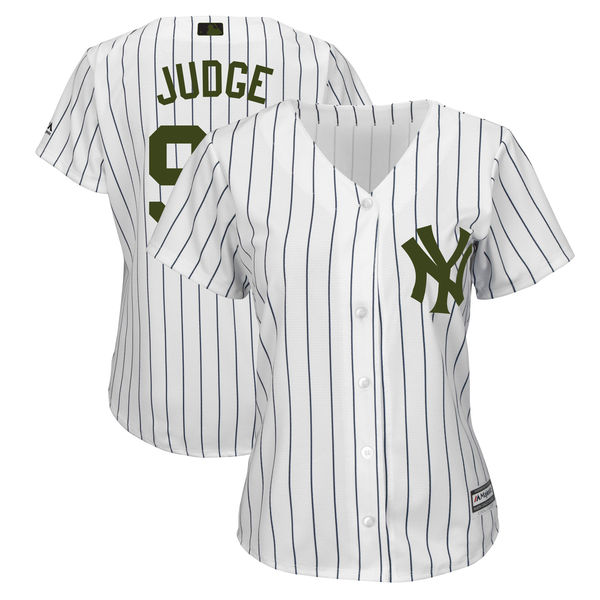 New York Yankees #99 Aaron Judge White Women 2018 Memorial Day Cool Base Jersey