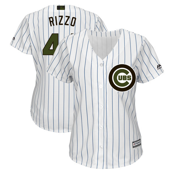 Chicago Cubs #44 Anthony Rizzo White Women 2018 Memorial Day Cool Base Jersey