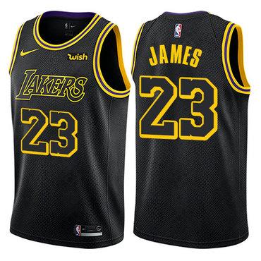 Women's Nike Los Angeles Lakers #23 LeBron James Black NBA Swingman City Edition Jersey