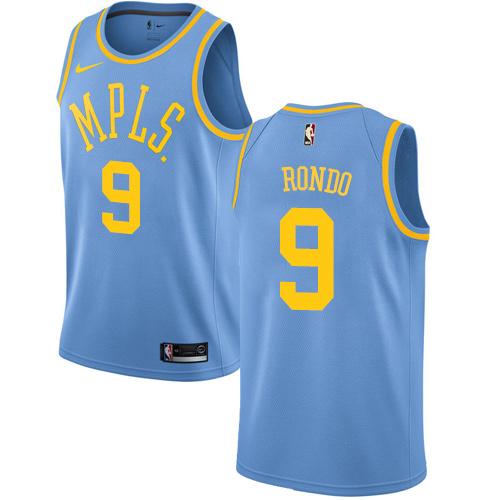 Women's Nike Los Angeles Lakers #9 Rajon Rondo Royal Blue NBA Swingman Hardwood Classics Jersey