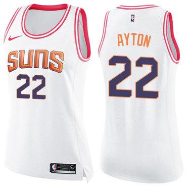 Women's Nike Phoenix Suns #22 Deandre Ayton White Pink NBA Swingman Fashion Jersey