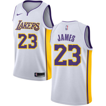 Youth Nike Los Angeles Lakers #23 LeBron James White NBA Swingman Association Edition Jersey