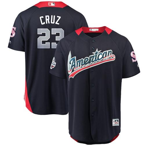 Mariners #23 Nelson Cruz Navy Blue 2018 All-Star American League Stitched Baseball Jersey