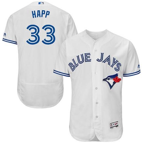 Toronto Blue Jays #33 J.A. Happ White Flexbase Authentic Collection Stitched Baseball Jersey