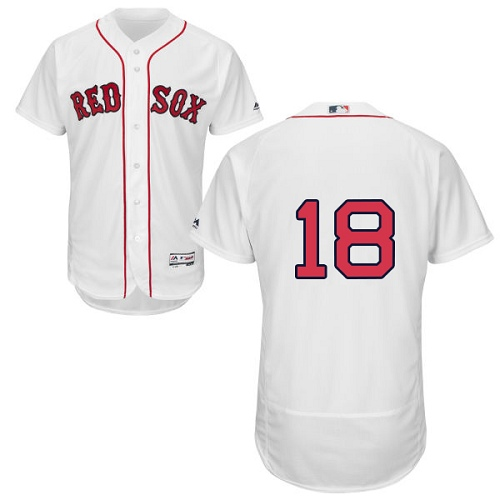 Boston Red Sox #18 Mitch Moreland White Flexbase Authentic Collection Stitched Baseball Jersey