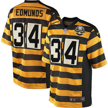 Nike Steelers #34 Terrell Edmunds Black Yellow Alternate Youth Stitched NFL Elite Jersey