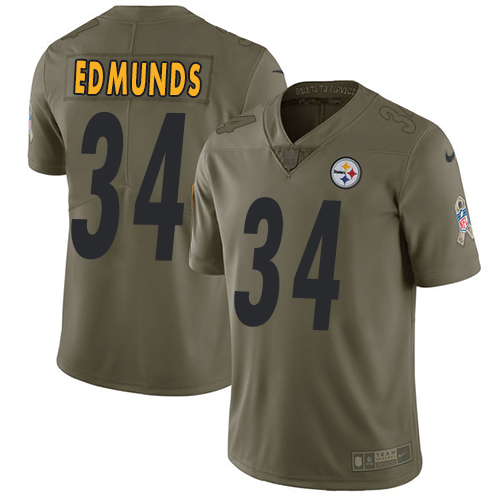 Nike Steelers #34 Terrell Edmunds Olive Youth Stitched NFL Limited 2017 Salute to Service Jersey