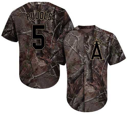 LA Angels of Anaheim #5 Albert Pujols Camo Realtree Collection Cool Base Stitched MLB Jersey