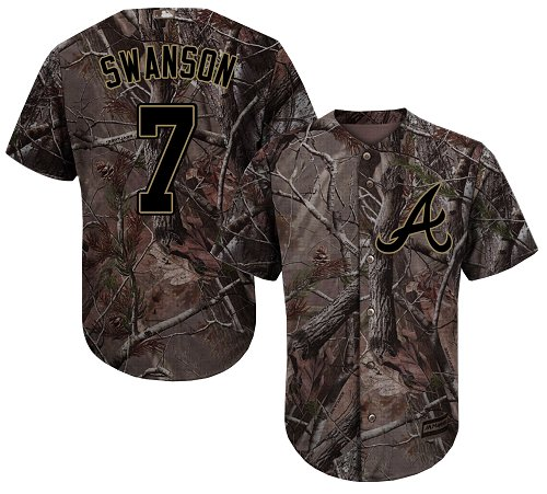 Atlanta Braves #7 Dansby Swanson Camo Realtree Collection Cool Base Stitched MLB Jersey