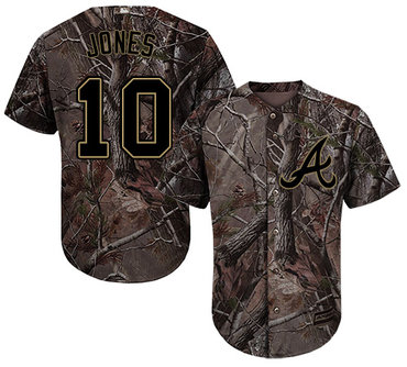 Atlanta Braves #10 Chipper Jones Camo Realtree Collection Cool Base Stitched MLB Jersey