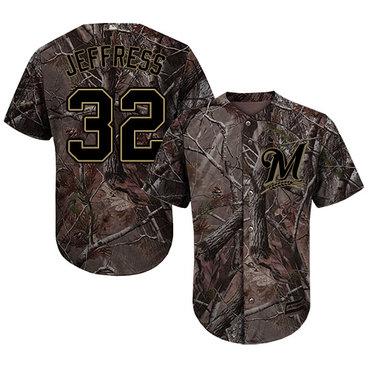 Milwaukee Brewers #32 Jeremy Jeffress Camo Realtree Collection Cool Base Stitched MLB Jersey