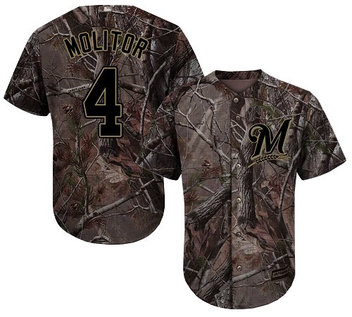 Milwaukee Brewers #4 Paul Molitor Camo Realtree Collection Cool Base Stitched MLB Jersey