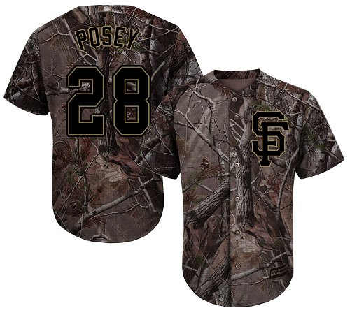 San Francisco Giants #28 Buster Posey Camo Realtree Collection Cool Base Stitched MLB Jersey