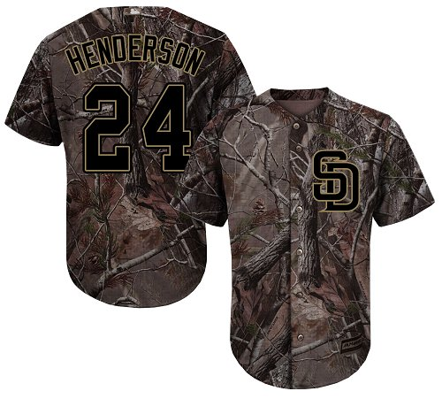 San Diego Padres #24 Rickey Henderson Camo Realtree Collection Cool Base Stitched MLB Jersey
