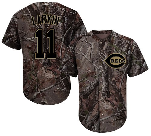 Cincinnati Reds #11 Barry Larkin Camo Realtree Collection Cool Base Stitched MLB Jersey