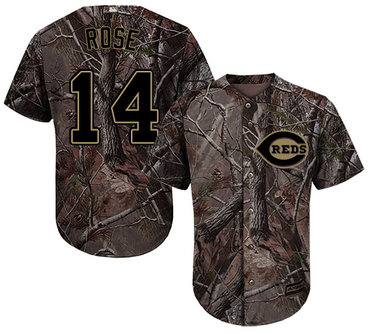 Cincinnati Reds #14 Pete Rose Camo Realtree Collection Cool Base Stitched MLB Jersey