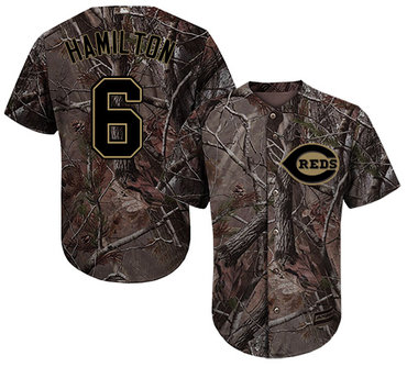 Cincinnati Reds #6 Billy Hamilton Camo Realtree Collection Cool Base Stitched MLB Jersey