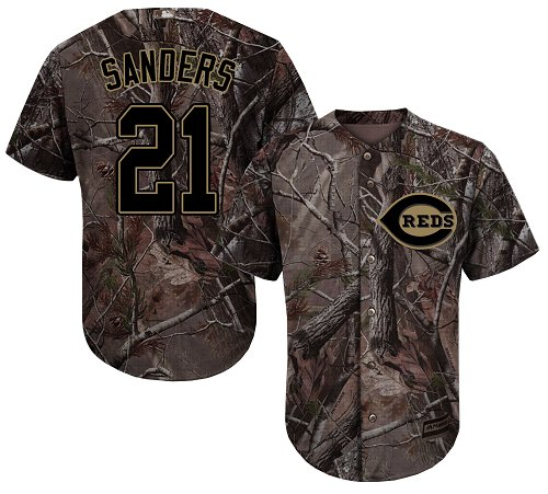 Cincinnati Reds #21 Reggie Sanders Camo Realtree Collection Cool Base Stitched MLB Jersey