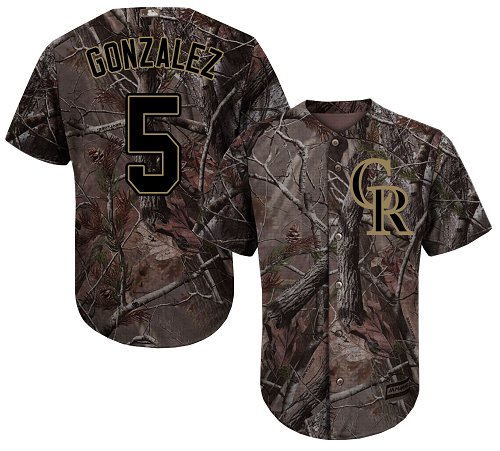 Colorado Rockies #5 Carlos Gonzalez Camo Realtree Collection Cool Base Stitched MLB Jersey