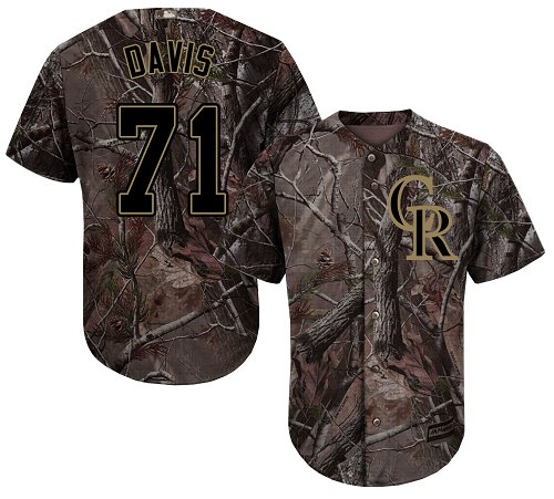 Colorado Rockies #71 Wade Davis Camo Realtree Collection Cool Base Stitched MLB Jersey