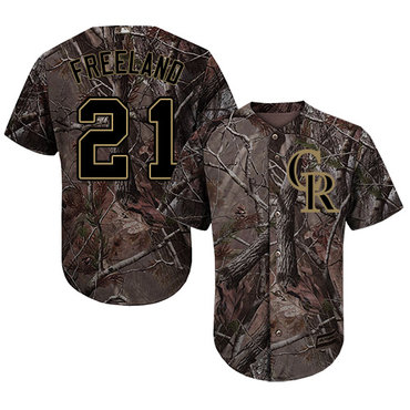 Colorado Rockies #21 Kyle Freeland Camo Realtree Collection Cool Base Stitched MLB Jersey