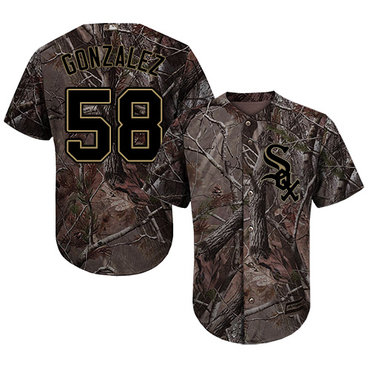 Chicago White Sox #58 Miguel Gonzalez Camo Realtree Collection Cool Base Stitched MLB Jerseys