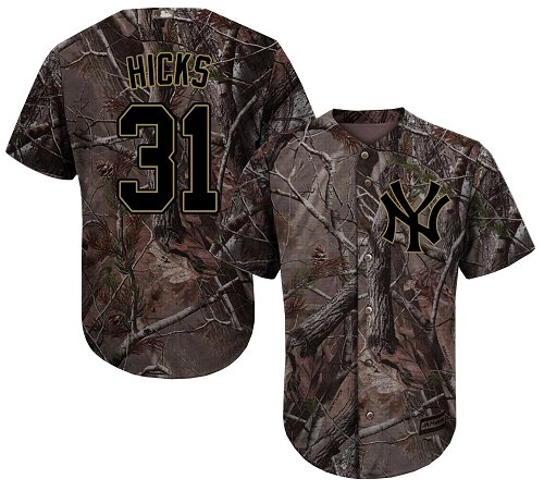 New York Yankees #31 Aaron Hicks Camo Realtree Collection Cool Base Stitched MLB Jersey
