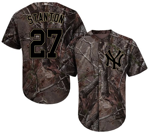 New York Yankees #27 Giancarlo Stanton Camo Realtree Collection Cool Base Stitched MLB Jersey