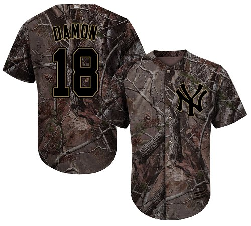New York Yankees #18 Johnny Damon Camo Realtree Collection Cool Base Stitched MLB Jersey