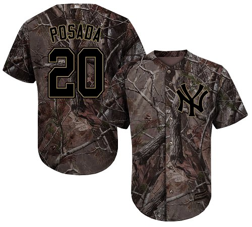 New York Yankees #20 Jorge Posada Camo Realtree Collection Cool Base Stitched MLB Jersey