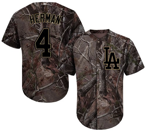 Los Angeles Dodgers #4 Babe Herman Camo Realtree Collection Cool Base Stitched Baseball Jersey