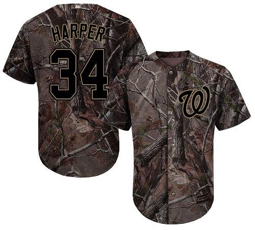 Washington Nationals #34 Bryce Harper Camo Realtree Collection Cool Base Stitched Baseball Jersey