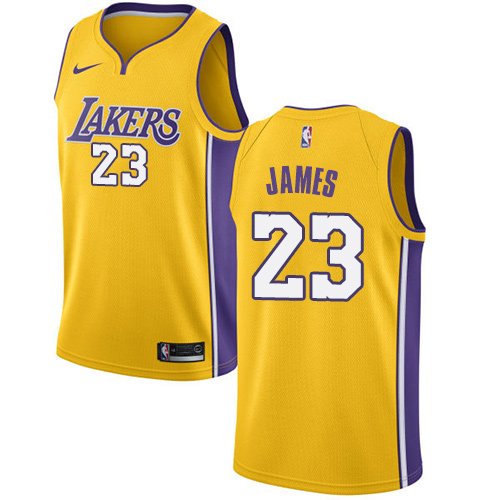 Nike Los Angeles Lakers #23 LeBron James Gold NBA Swingman Icon Edition Jersey